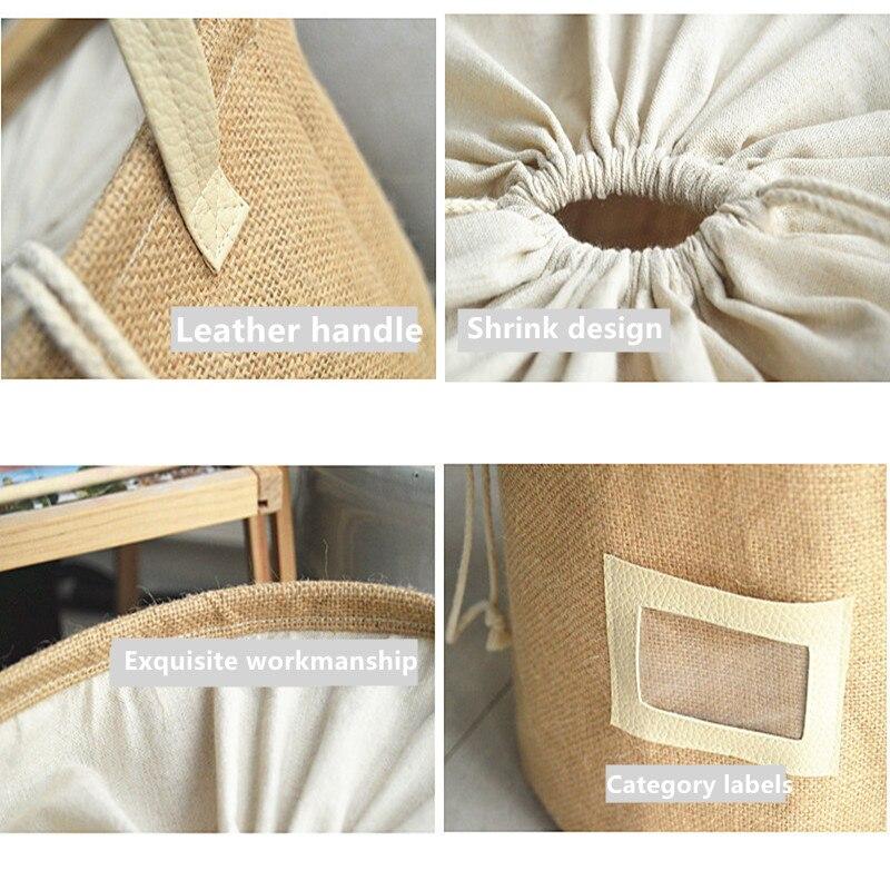 Fypo® Storage Basket Natural Jute Dirty Cloth Collect Bag Laundry Bag Basket