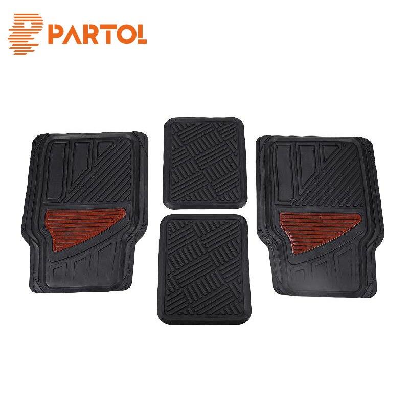 Partol Set Universal Car Floor Mats Driver & Passenger Seat Ridged Floor Liner Auto Anti-Slip Mat Waterproof Dustproof Skidproof
