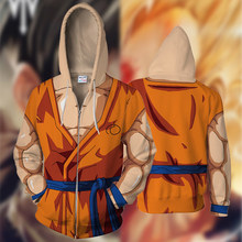New fall/winter 2019 3D printed hoodie dragon ball Z sun wukong Cosplay zip up the top of the hoodie(China)