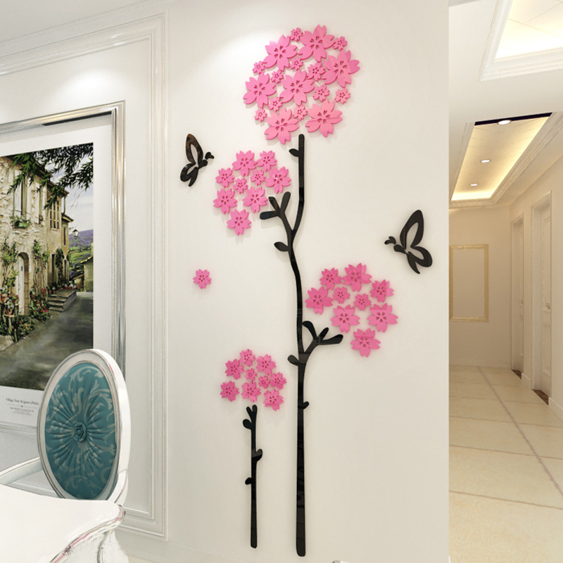 Beautiful cherry blossoms tree design acrylic wall - Beautiful wall stickers for living room ...