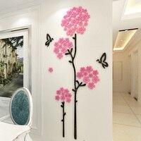 Beautiful Cherry Blossoms Tree Design Acrylic Wall Stickers DIY Sakura Sticker for Living Room Cafe Beauty Salon Home Decoration