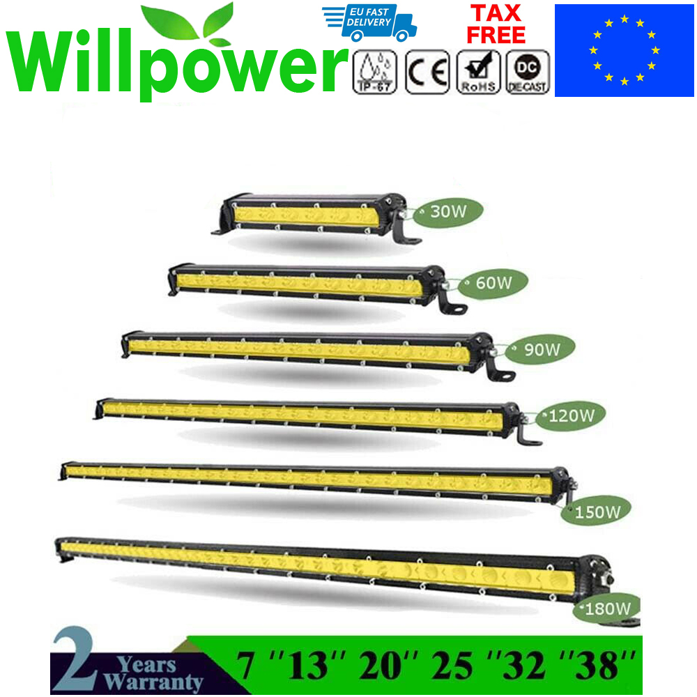 Straight Slim LED Light Bar Single Row 7