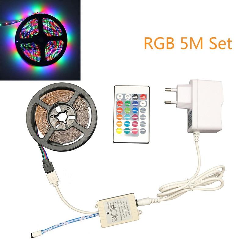 RGB Led Strip Light Waterproof SMD 3528 5M 300Leds DC12V 60Leds/M Flexible Light Led Ribbon Tape Home Decoration Lamp El Wire