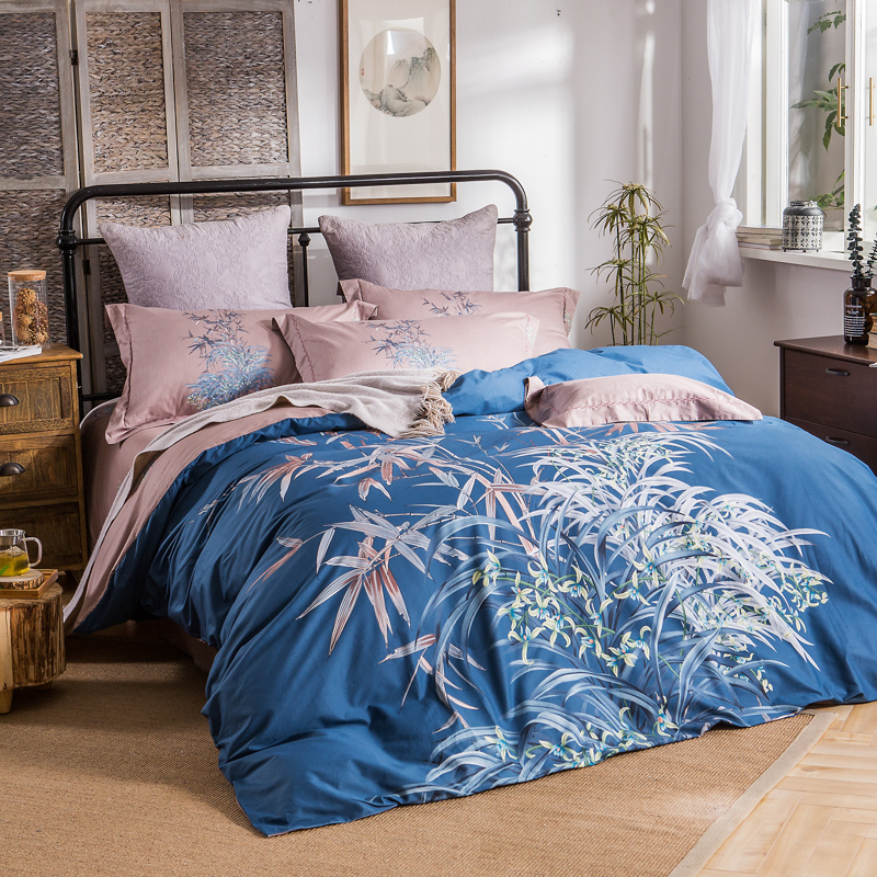 Blue Leaves and Flowers Bedding Sets Queen & King Size Duvet Covers Bedlinens 100% Cotton Print Bedroom Textile Sets 4pcsBlue Leaves and Flowers Bedding Sets Queen & King Size Duvet Covers Bedlinens 100% Cotton Print Bedroom Textile Sets 4pcs