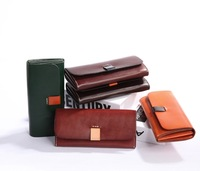 2018 new Japanese original handmade leather long wallet vegetable tanned leather cowboy color contrast wallet clutch