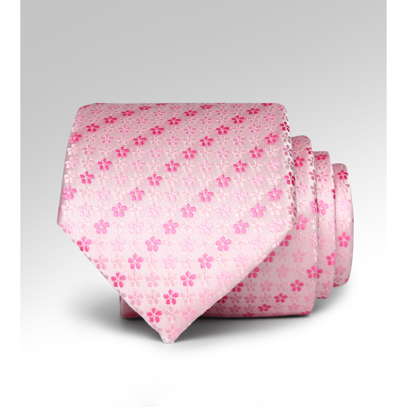 Designer Brand Fashion 7cm Jacquard Weave Business Neck Tie Pink Floral Romantic Wedding Party Groom Ties With Gift Box L7162