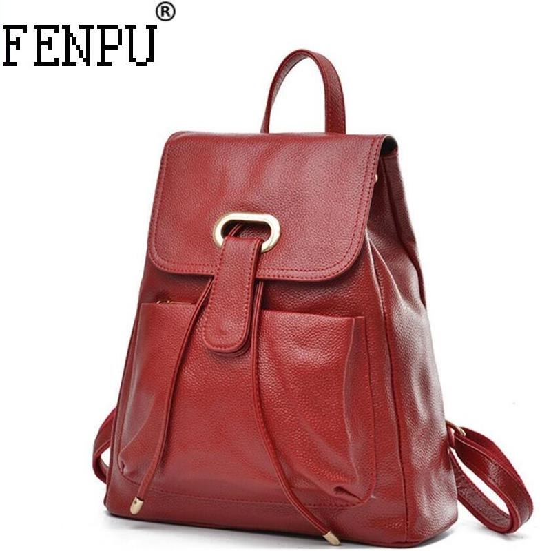 2018 New Famous Brand Backpack Cowhide Women Backpacks Solid Vintage Girls School Bags for Girls Genuine Leather Women Backpack joyir genuine leather women backpack vintage school bags for teenagers girls female backpacks women travel bags 2018 brand 8664