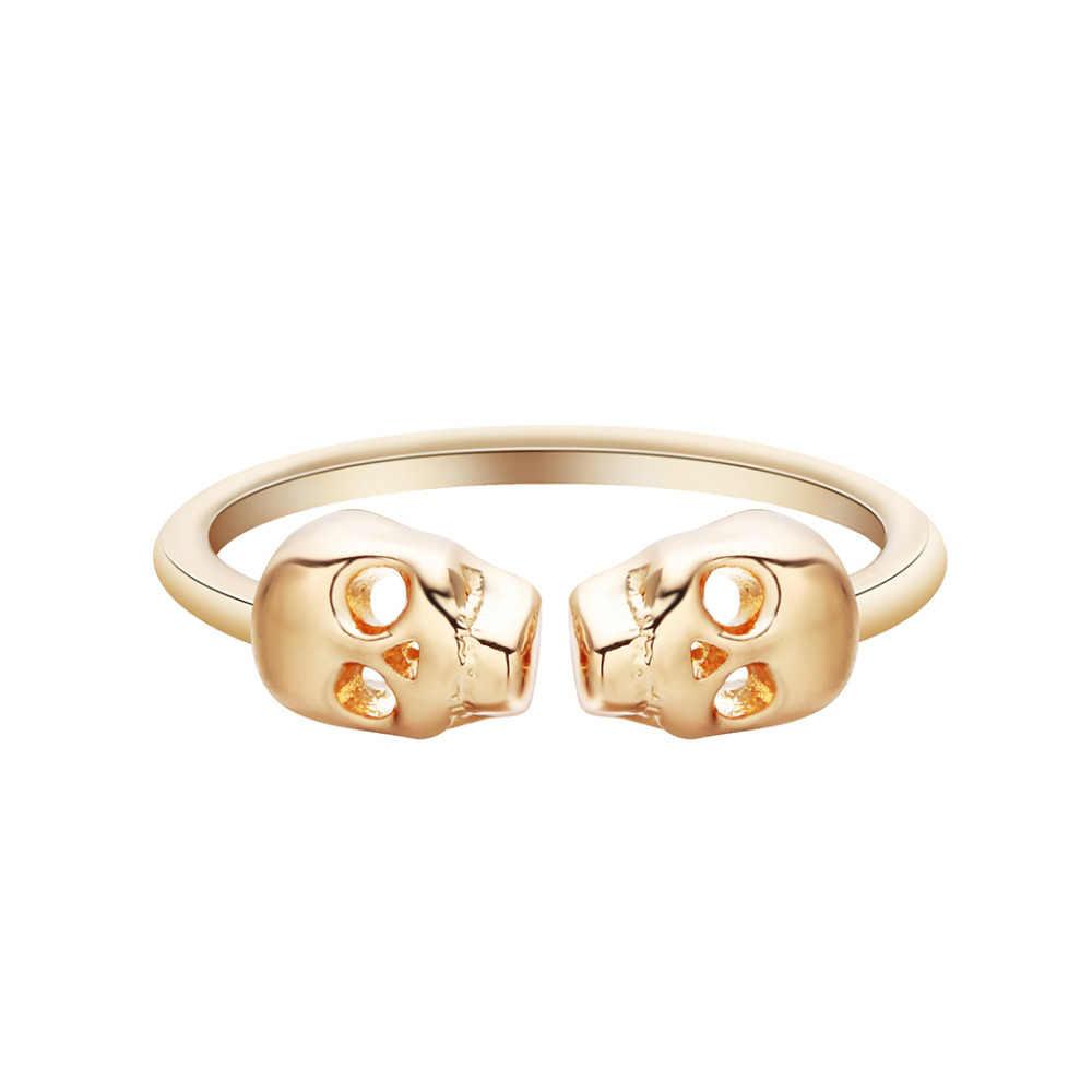 QIAMNI unikalny regulowany mężczyzna podwójny szkielet czaszka Ring Finger biżuteria na przyjęcie koktajlowe złoty kolor Toe Foot Ring Bague Femme