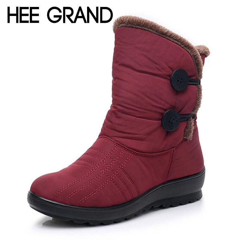 16c4b196744e HEE GRAND Button Waterproof Women Winter Snow Boots Warm Platform Ankle Boot  Slip On Solid Fur