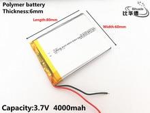 1 pçs/lote 3.7 V, 4000 mAH, 606080 Polímero de íon de lítio/bateria de Iões de lítio para o BRINQUEDO, BANCO DO PODER, GPS, mp3, mp4
