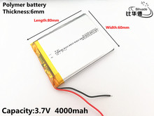 1pcs/lot 3.7V,4000mAH,606080 Polymer lithium ion / Li ion battery for TOY,POWER BANK,GPS,mp3,mp4