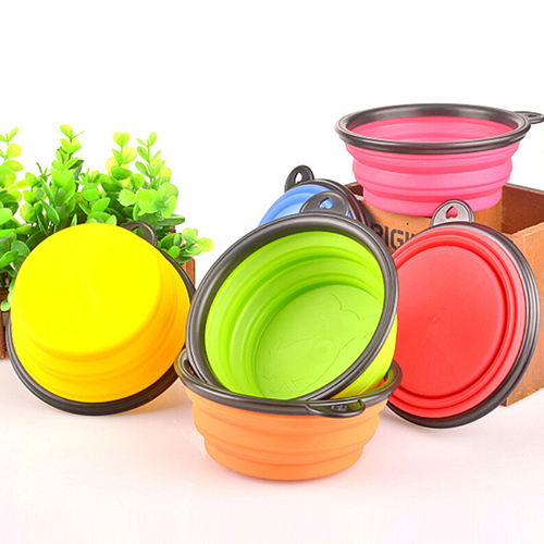 Hot Silicone Travel Dog Bowl Collapsible Premium Quality Food Water Pet Travel Bowl