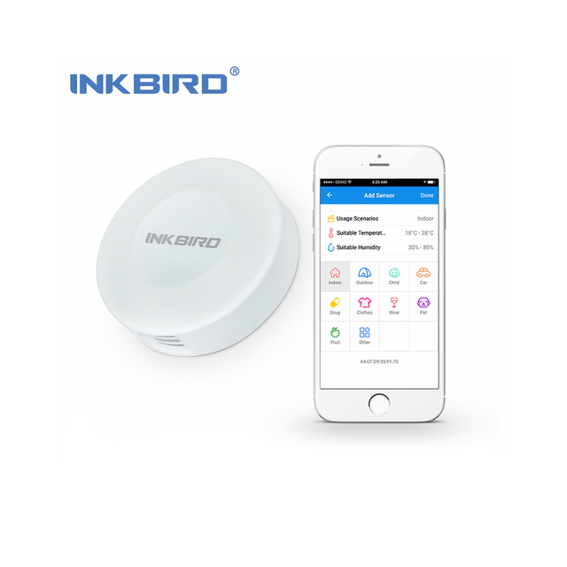 Inkbird IBS-TH1 Mini Datalogger Draadloze Thermometer & Hygrometer voor iPhone/Android, Temperatuur en Vochtigheid Smart Sensor