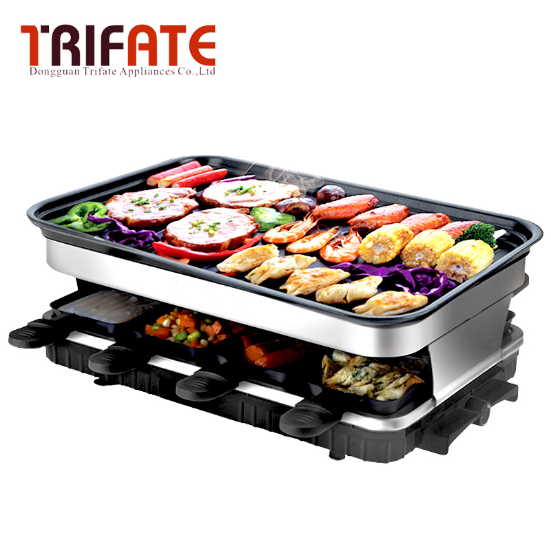 1500W Square Double Layers Smokeless Electric Pan Grill BBQ Grill Raclette Grill Electric Griddle Гриль