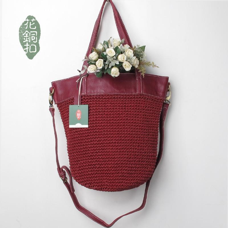 Free shipping women's handbag fluid line handmade woven bag one shoulder women's genuine leather fashion handbag