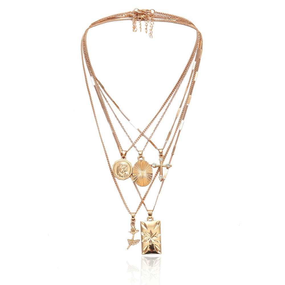18e9b0460151a Ingemark Layered Rose Cross Pendant Choker Necklace Set Boho Golden Carve  Portrait Coin Long Chain Necklace Women Christian Gift