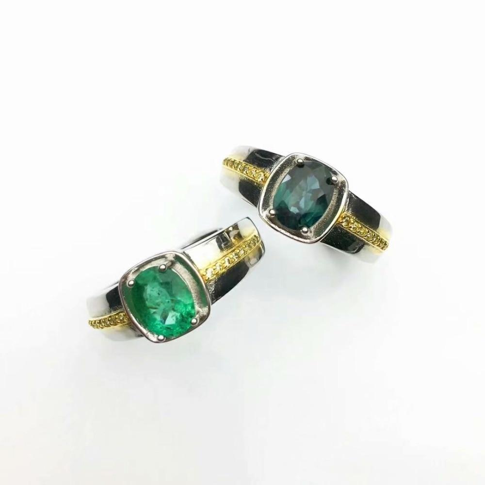 100% 925 argent sterling naturel vert émeraude anneaux saphir bijoux fins cadeau femmes de mariage ouvert nouveau 5*7mm cj050708agml