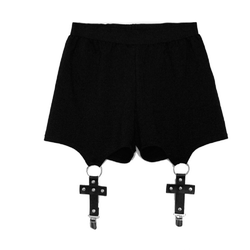 Summer Punk Gothic Shorts Women Sexy Cross Ring Short Pants Summer Fashion Black Shorts Feminino