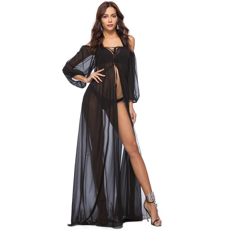 4b7e023eecb86 New Chiffon Beach Long Dress Robe de Plage Summer Bikini cover up Saida de  Praia Pareo