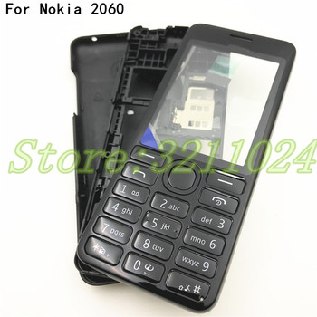 Top Quality Front Middle Frame Back cover Battery Cover For Nokia Asha 206 2060 Full Housing Cover Case With English Keypad+Logo image