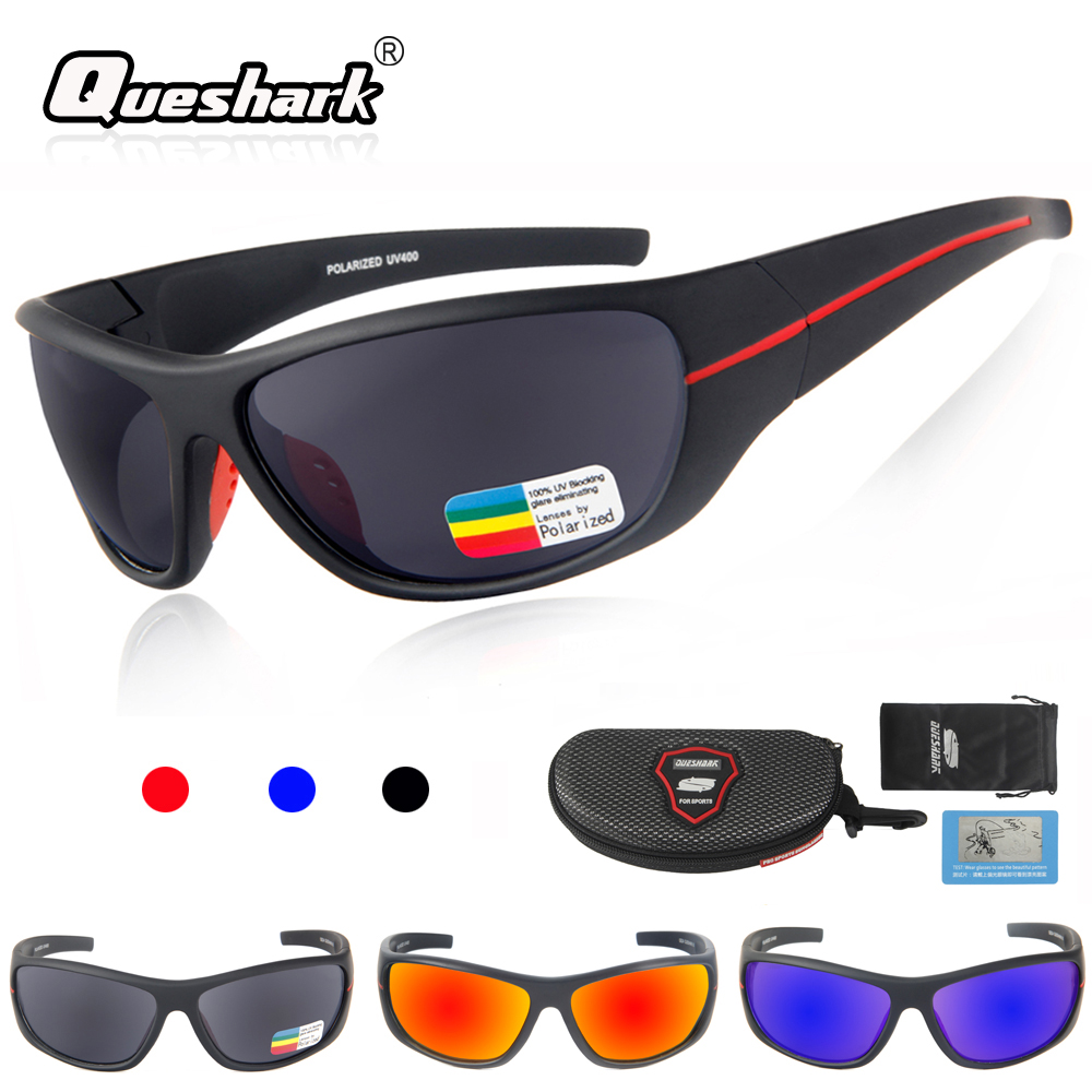 QUESHARK  Sports Polarized Hiking Sunglasses Men TR90 Cycling Glasses Bike Goggles Fishing Glasses Uv Protection Camping Eyewear okulary wojskowe
