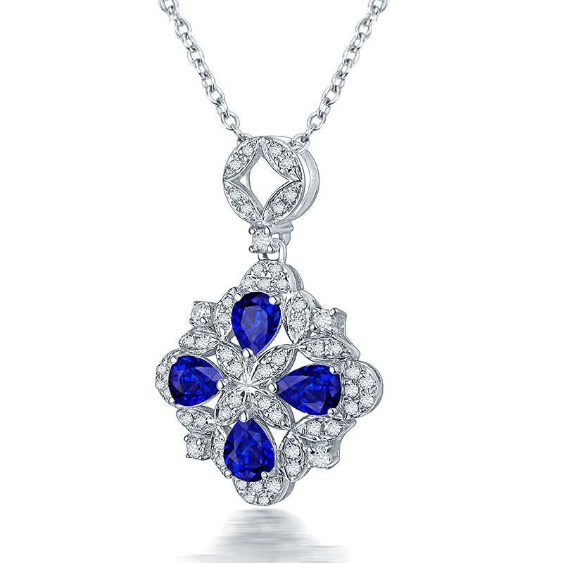 Special design blue sapphire pendant necklace real14k white gold special design blue sapphire pendant necklace real14k white gold charming diamond wholesale fine jewelry women thanksgiving gift in pendants from jewelry aloadofball Choice Image