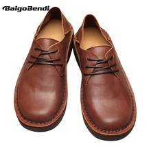 Recommend ! Retro Full Grain Leather Men Round Toe Casual Shoes Leisure Man Lace Up Soft Oxfords Four Season