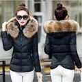 Cuello de piel sintética parka chaqueta de algodón 2017 chaqueta de invierno las mujeres gruesas chaquetas parkas desgaste nieve abrigo de señora clothing femenino