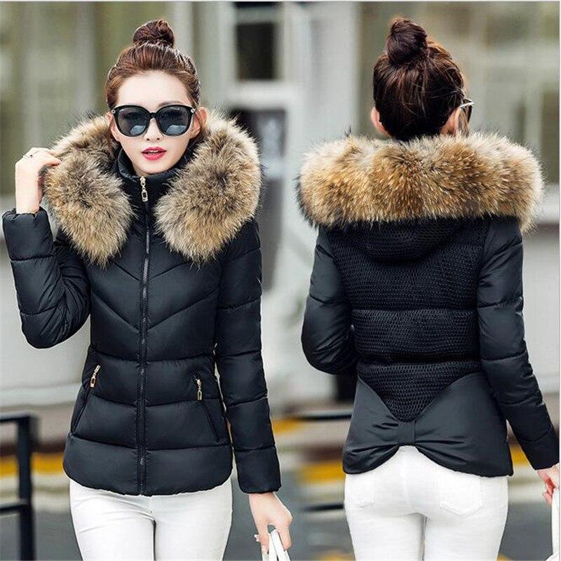 ФОТО Fake fur collar Parka down cotton jacket 2016 Winter Jacket Women thick Snow Wear Coat Lady Clothing Female Jackets Parkas