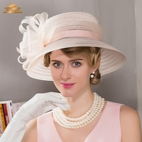Wide Brim Ladies Hats Wedding Bowknot Feather Fedoras Pink Kentucky Derby Hoeden Summer Church Hat for Woman Party Hat B 8192