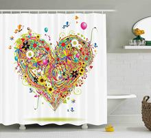 Memory Home Hearts Flower Balloon Butterflies Sunflowers Colorful Grass  Floral Bathroom Print Polyester Fabric Shower Curtain 0a69dd1db115