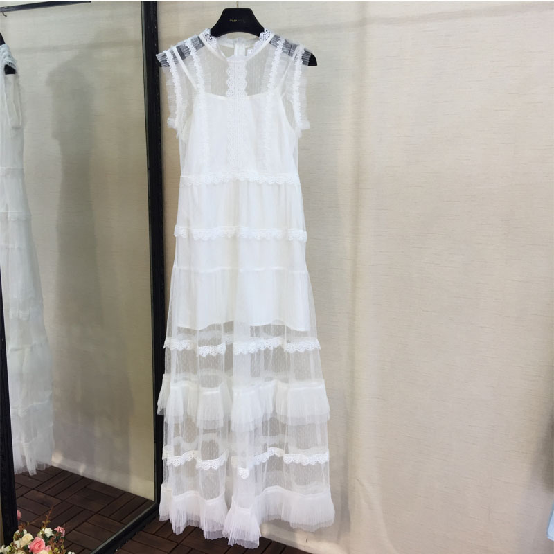 Women Summer Fashion Dress Sweet Sexy Casual Sleeveless White Dress