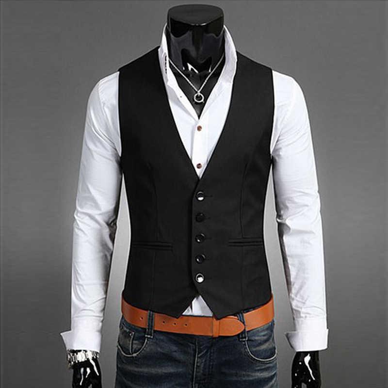 Hombres chaqueta sin mangas traje chaleco slim fit chaleco Caballero formal  corto Tops casual blazer chaleco 2380ffec2138