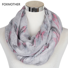 FOXMOTHER 2017 New Winter Women Soft Grey Pink Feather Snood Infinity Scarfs Womens