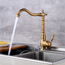 Antique Red Copper 360 Degree Rotation Kitchen Faucet Single Handle Hole Vessel Sink Mixer Tap Knf416