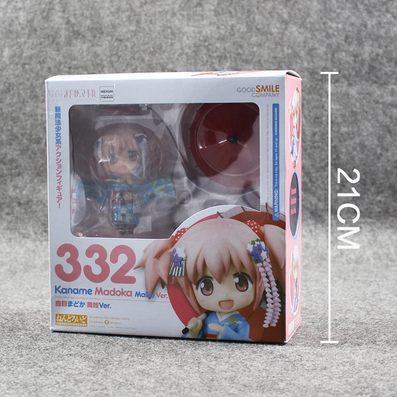 10cm Nendoroid #332  kaname madoka Puella Magi Madoka Magica PVC Action Figure Model Collection Toy Doll Toy Retail puella magi madoka magica tomoe mami gold short cosplay wig free two ponytails