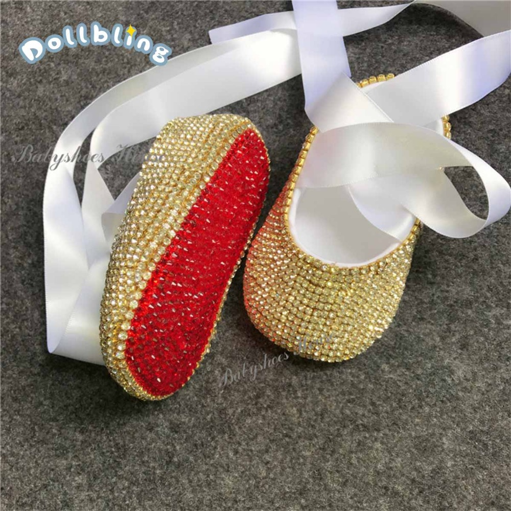 Celebrity Wedding Party Infant Golden Newborn Red Bottom Rhinestones Christening Handmade Baby Shoes With Pacifier Clips