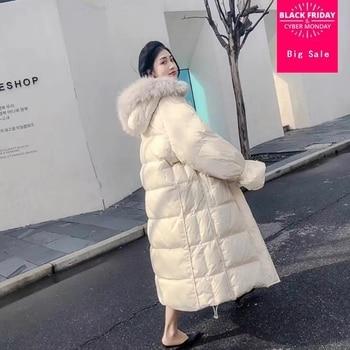 90% duck down coat fashion brand big fur collar down jacket women winter hooded luxury longer warm down coat wq449 dropship