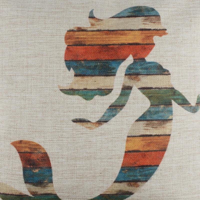 LINKWELL 18x18 Vintage Colorful Wood Slat Mermaid Burlap Cushion Cover Throw Pillowcase Story Myth Girl