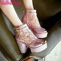 Tamanho 34-39 Sexy Pink VALLKIN Verão Sapatos Da Moda Peep Toe Mulheres Zipper Sapatos Plataforma mulheres Bombas de Salto Alto Grosso Casamento sapatos
