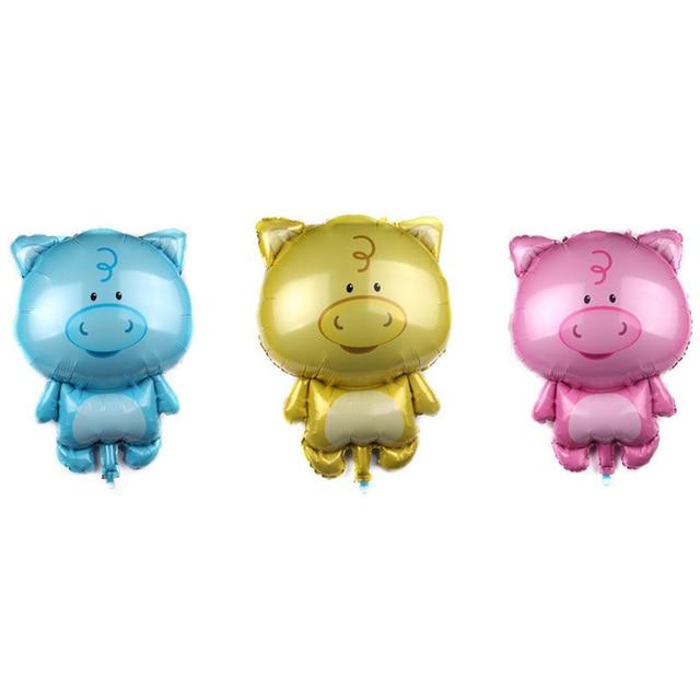 50 pc Porco Dos Desenhos Animados Balões Foil Decorações Da Festa de Aniversário Crianças Brinquedos de Banho Do Bebê Inflável Animal do Balão Suprimentos Ar Globos