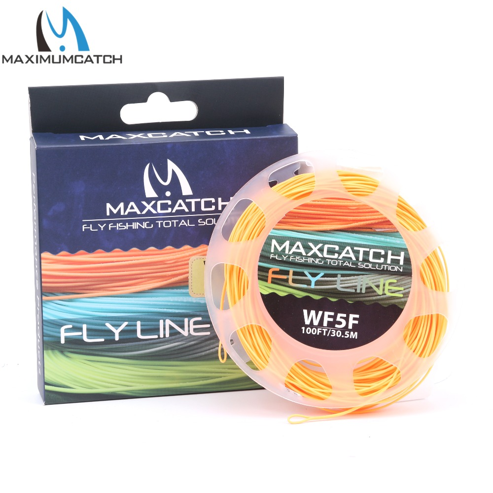 Maximumcatch 1-9wt Салмағы Алға Флотациялық Fly Fishing Line 100FT Multi Colour Fly Line Line Spool