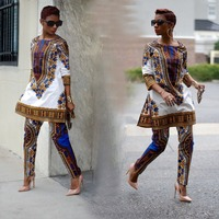 2017 African Clothing 2 Piece Set Women Africaine Print Dashiki Dress Summer Traditional African Clothes 7365