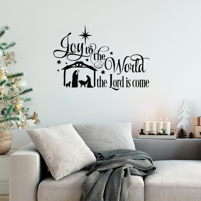 joy to the world wall stickers quotes christmas nativity scene vinyl