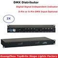 2 einheiten DMX Splitter DMX512 Licht Bühne Lichter Signal Verstärker Splitter 8 Ausgänge DMX Distributor 3 PIN/5PIN XLR stecker