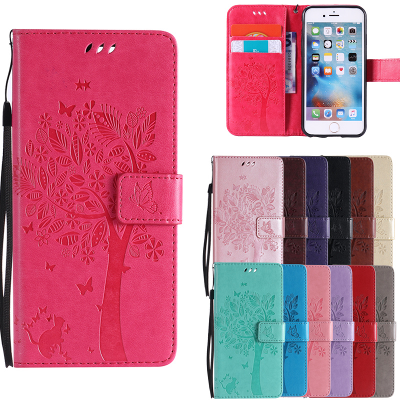 <font><b>Leather</b></font> <font><b>Cases</b></font> Lovely Tree Cat Pattern For <font><b>iPhone</b></font> X 8 7 Plus 4 4S 5C 5S SE <font><b>6S</b></font> Retro Phone Bags For iPod Touch 5 6 image