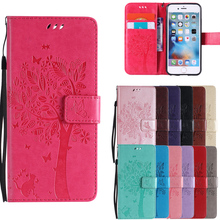 Leather Cases Lovely Tree Cat Pattern For iPhone