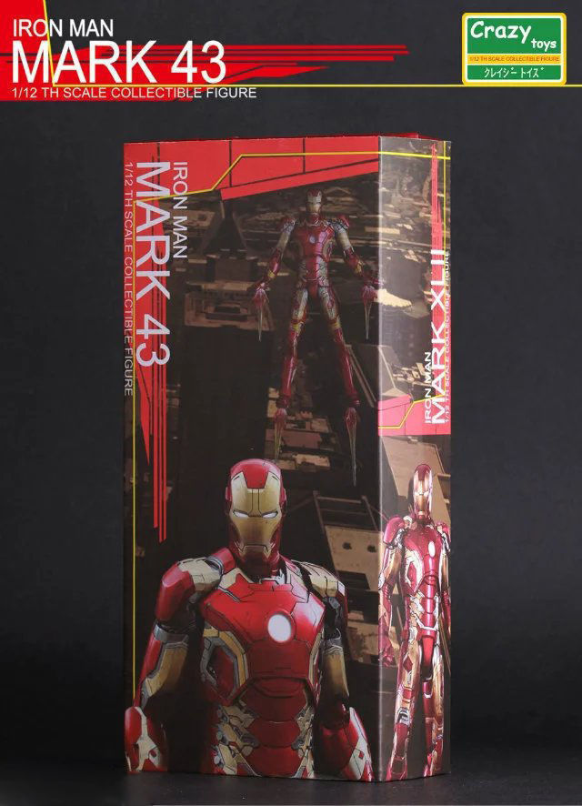 6 MARVEL UNIVERSE IRON MAN MARK 43 1/12TH COLLECTIBLE ACTION FIGURES CRAZY TOYS Anime Figure Collectible Model Toy