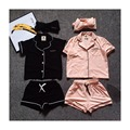 Mirada de la familia 2016 ropa de casa la ropa para la madre y la hija hijo de verano de la familia informal de manga corta gira el collar abajo traje ropa