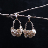 The Specific Natural Pearl Pure Handmade Zircon Earrings
